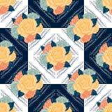 Vector naadloos retro bloemenpatroon royalty-vrije illustratie