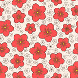 Vector naadloos rood sakurapatroon Royalty-vrije Stock Fotografie