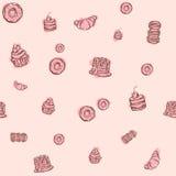 Vector naadloos roze patroon met hand getrokken heerlijke cupcakes en donuts Royalty-vrije Stock Foto