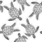 Vector naadloos schildpadpatroon Stock Foto's