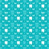 Vector naadloos tandpatroon met lijnpictogrammen stock illustratie