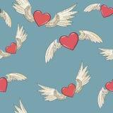 Vector naadloos vleugels en hart vector illustratie