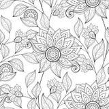 Vector Naadloos Zwart-wit Bloemenpatroon Royalty-vrije Stock Afbeelding