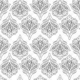 Vector Naadloos Zwart-wit Bloemenpatroon Royalty-vrije Stock Fotografie