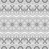 Vector Naadloos Zwart-wit Damastpatroon Royalty-vrije Stock Afbeeldingen