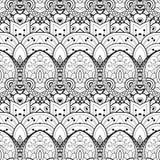 Vector Naadloos Zwart-wit Damastpatroon Stock Afbeeldingen