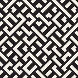 Vector Naadloos Zwart-wit Diagonaal Maze Lines Geometric Pattern royalty-vrije illustratie