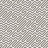 Vector Naadloos Zwart-wit Geometrisch Rond gemaakt Maze Lines Pattern Royalty-vrije Stock Foto's