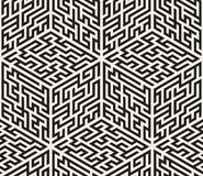 Vector Naadloos Zwart-wit Isometrisch Maze Pattern Stock Afbeeldingen