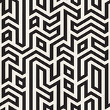 Vector Naadloos Zwart-wit Maze Lines Geometric Irregular Pattern stock illustratie