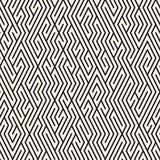 Vector Naadloos Zwart-wit Maze Lines Grid Pattern stock illustratie