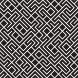Vector Naadloos Zwart-wit Maze Lines Pattern Royalty-vrije Stock Foto