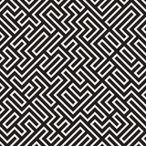 Vector Naadloos Zwart-wit Maze Lines Pattern stock illustratie