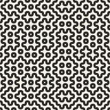 Vector Naadloos Zwart-wit Rond gemaakt Geometrisch Lijnen en Dots Pattern Royalty-vrije Stock Afbeelding