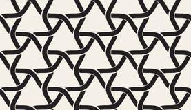 Vector Naadloos Zwart-wit Rond gemaakt Golvend het Rooster Doorwevend Patroon van de Lijndriehoek royalty-vrije illustratie