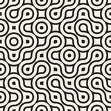 Vector Naadloos Zwart-wit Rond gemaakt Onregelmatig Maze Lines Pattern Stock Foto's