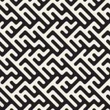 Vector Naadloos Zwart-wit Rond gemaakt Onregelmatig Maze Lines Pattern Royalty-vrije Stock Afbeeldingen