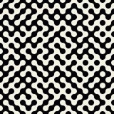 Vector Naadloos Zwart-wit Truchet Rond gemaakt Maze Pattern Stock Foto's