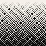Vector Naadloos Zwart & Wit Vierkant Maze Lines Halftone Pattern Stock Foto's