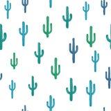 Vector naadloze achtergrond met blauwachtige cactus Stock Afbeeldingen
