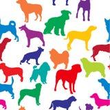 Vector naadloze achtergrond met hondensilhouetten stock illustratie