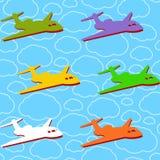 Vector naadloze achtergrond met vliegtuigen Stock Foto