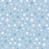 Vector Naadloze Blauwe de Winterachtergrond met Sneeuwvlokken Stock Foto