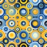 Vector Naadloze Blauwe Gele Gradiënt Mesh Concentric Circles Pattern Stock Foto's