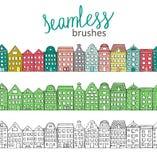 Vector naadloze borstels met leuke kleurrijke, groene en zwart-witte huizen stock illustratie