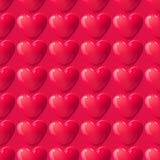 Vector naadloze 3d rode hartentextuur Romantische de vakantieachtergrond van de valentijnskaartendag Stock Fotografie