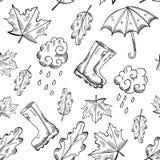 Vector naadloze de herfstpatronen met hand getrokken schetsillustraties Vector Illustratie