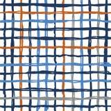 Vector naadloze de strepenplaid van de patroonborstel Blauwe oranje kleur op witte achtergrond Hand geschilderde landhuistextuur  Stock Foto