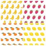 Vector naadloze die patronen met vruchten worden geplaatst Gezonde voedselachtergrond Stock Foto