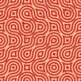 Vector Naadloze Geometrische Golvende Lijnen Onregelmatige Retro Grungy Rode Tan Pattern Royalty-vrije Stock Foto's
