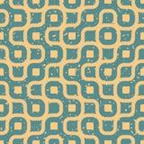 Vector Naadloze Golvende Lijnen Onregelmatige Retro Grungy Blauwe Tan Pattern Royalty-vrije Stock Fotografie