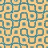 Vector Naadloze Golvende Lijnen Onregelmatige Retro Grungy Blauwe Tan Pattern Royalty-vrije Stock Foto's
