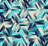 Vector Naadloze Gradiënt Mesh Color Stripes Hexagon Grid in Schaduwen van Marineblauw Stock Afbeelding