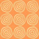 Vector Naadloze Hand Getrokken Geometrische Lijnen Cirkel Ronde Tegels Retro Grungy Oranje Tan Color Pattern Royalty-vrije Stock Afbeelding