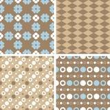 Vector naadloze het betegelen patronen - blauw en bruin royalty-vrije illustratie