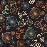 Vector naadloze kleurrijke retro uitstekende fiets Stock Afbeelding
