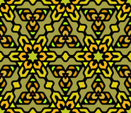 Vector Naadloze Kleurrijke Rond gemaakte Bloemen Oosterse Hexagonale Mandala Pattern royalty-vrije illustratie
