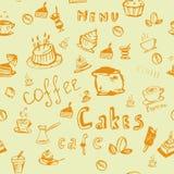 Vector naadloze koffieachtergrond Stock Fotografie