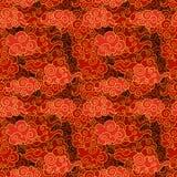 Vector Naadloze Oosters Wolkenpatroon, Rode en Gouden Kleuren royalty-vrije illustratie