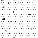 Vector naadloze patern met symbolen, punten, ogen en lippen Zwart-witte minimalism Stock Afbeeldingen