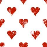 Vector naadloze patronen met pictogrammen van het spelen kaarten Creatieve geometrische rode en witte grungeachtergronden vector illustratie