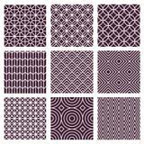 Vector naadloze patronen in in monolijnstijl Stock Afbeeldingen