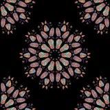 Vector naadloze patroon bloemenelementen op zwarte royalty-vrije illustratie