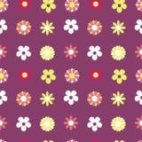 Vector Naadloze Patroon Donkere Purpere Hippie Bloemen royalty-vrije illustratie