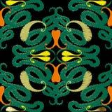 Vector naadloze patroon van Grunge het bloemenpaisley Bloeit de borduurwerk etnische stijl elegant ornament Tapijtwerk gevormde a stock illustratie