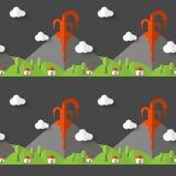 Vector naadloze patroon vulkanische uitbarsting Rook en lava van de krater, het dorp en de bomen bij de voet Gebruikt voor prentb stock illustratie